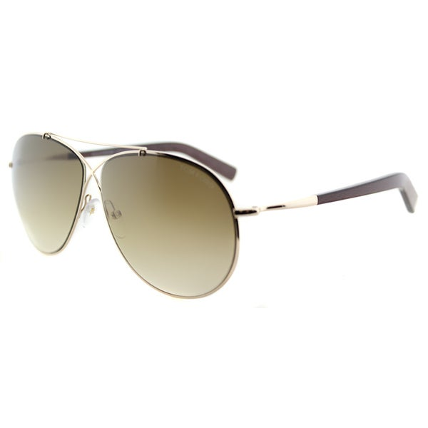 Tom Ford TF 374 28F Eva Pilot Rose Gold Metal Aviator Brown Gradient Lens Sunglasses