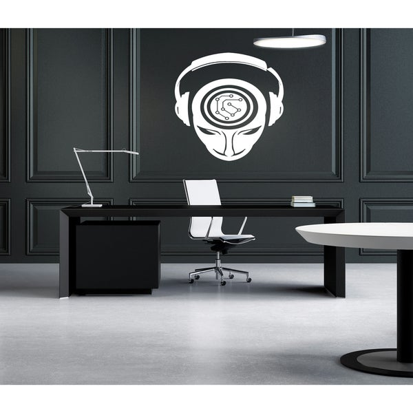 Music headphones brain head Wall Art Sticker Decal White