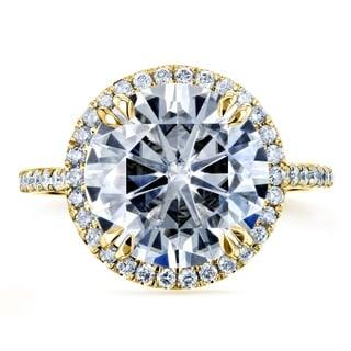 Annello 14k Yellow Gold 5 1/5ct TCW Round Moissanite and Diamond Halo Ring (G-H, I1-I2)