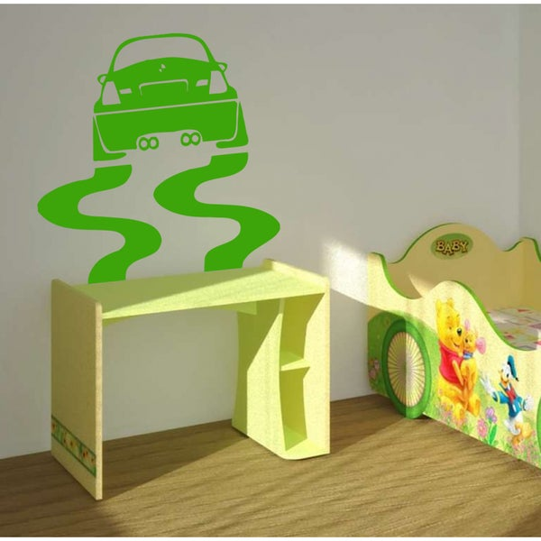 The machine and its traces Wall Art Sticker Decal Green