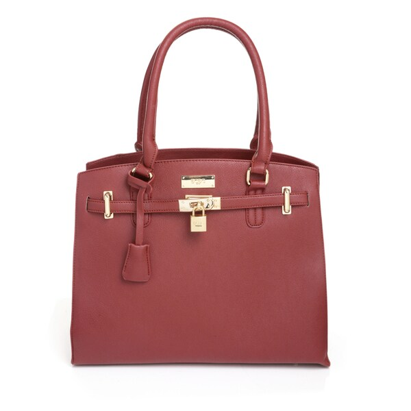 BCBG Paris Merlot Belted Tote Handbag