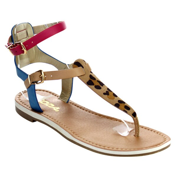 Women's Beston IA80 Multi-color Faux Leather T-strap Ankle Wrap Thong Sandals