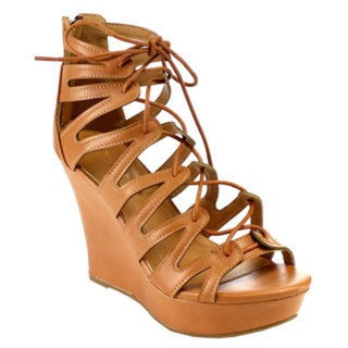 Beston EB72 Women's Beige, Black, and Tan Faux Leather Platform Lace-up Wedges