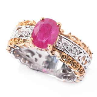 Michael Valitutti Ruby and White Sapphire Gemstone Ring