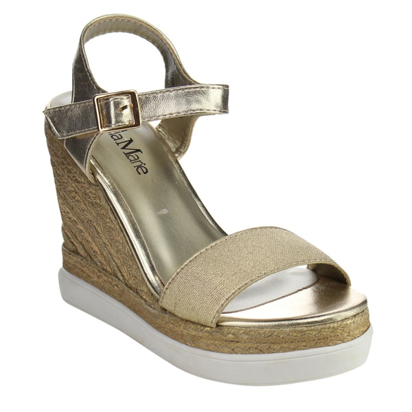 Bella Marie Edna Women's 'Espadrille' Gold Faux-leather Wedge Sandal
