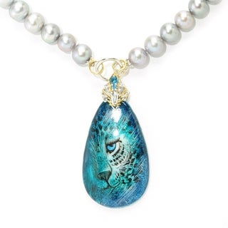 Michael Valitutti Blue Tiger Painted Shell with Grey Pearl Beads and London Blue Topaz Necklace