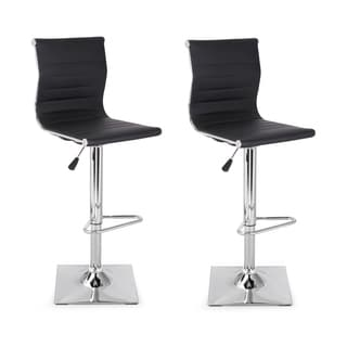 Adeco Black Faux Leather, Metal, and Chrome 360-degree Swivel Adjustable Hydraulic Lift Bar Stool (Set of 2)