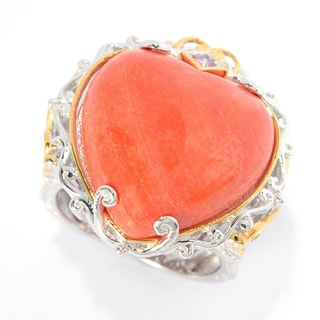Michael Valitutti Heart Shaped Salmon Bamboo Coral with Pink Sapphire Ring