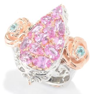 Michael Valitutti Pink Sapphire Cluster with Apatite Flower Ring