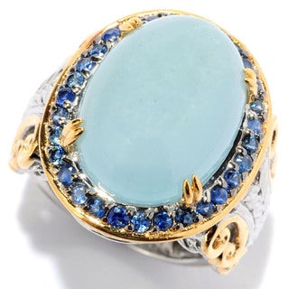 Michael Valitutti Cabochon Opaque Aquamarine with Blue Sapphire Ring