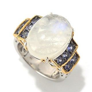 One-of-a-kind Michael Valitutti Cabochon Rainbow Moonstone with Tanzanite Ring