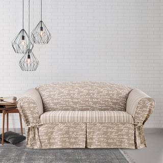 Sure Fit Vintage Script 1 Piece Loveseat Slipcover with Cord