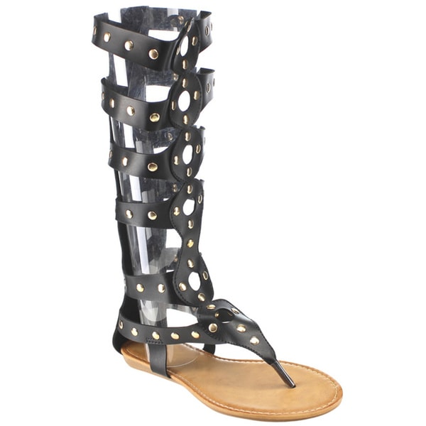 Women's Beston DC07 Black, Brown or White Faux-leather Studded Knee-high Gladiator Sandals