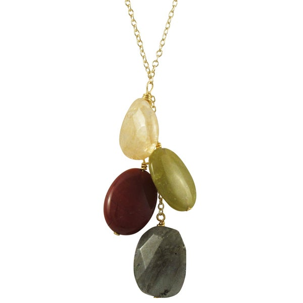 Luxiro Gold Finish Grey and Red Semi-precious Gemstone Tassel Necklace