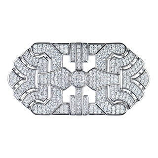 Sterling Silver CZ Art Deco 47mm Charm for Jewelry Making