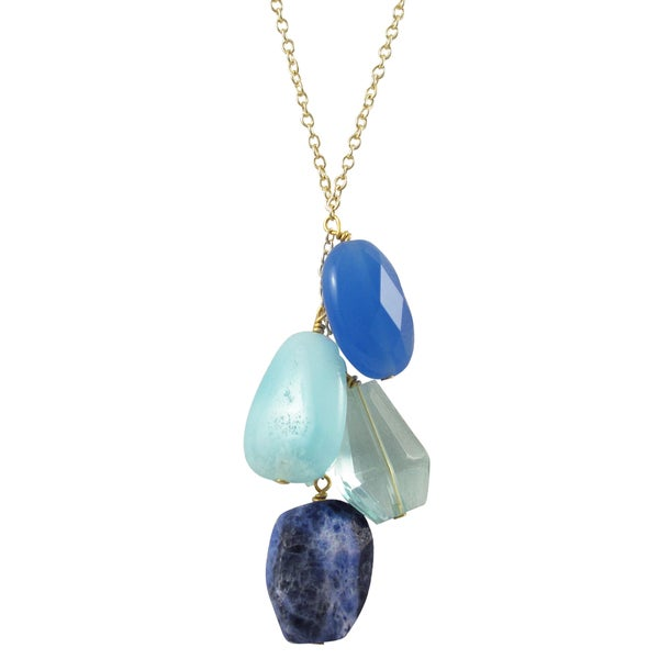 Luxiro Gold Finish Blue Semi-precious Gemstone Tassel Necklace