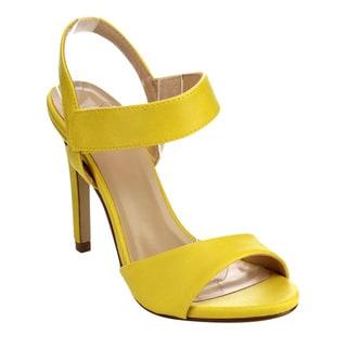 Beston Women's IB50 Faux-leather Velcro Ankle Strap Stiletto Heel Dress Sandals