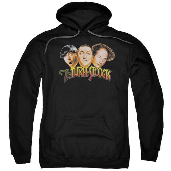 Three Stooges/Three Head Logo Adult Pull-Over Hoodie in Black