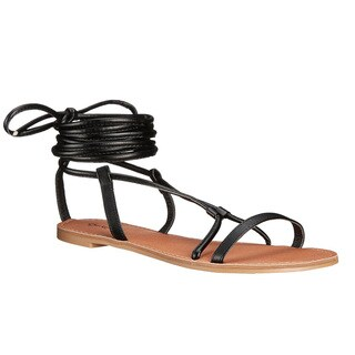 Qupid Athena Women's Black / Tan Faux-leather Lace Up Gladiator Sandals