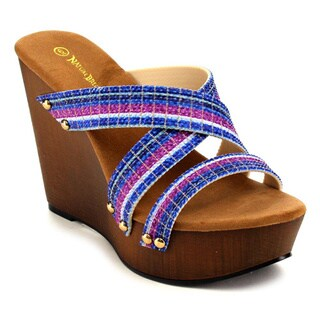 Beston Women's Multicolored Strappy Wedge Sandals