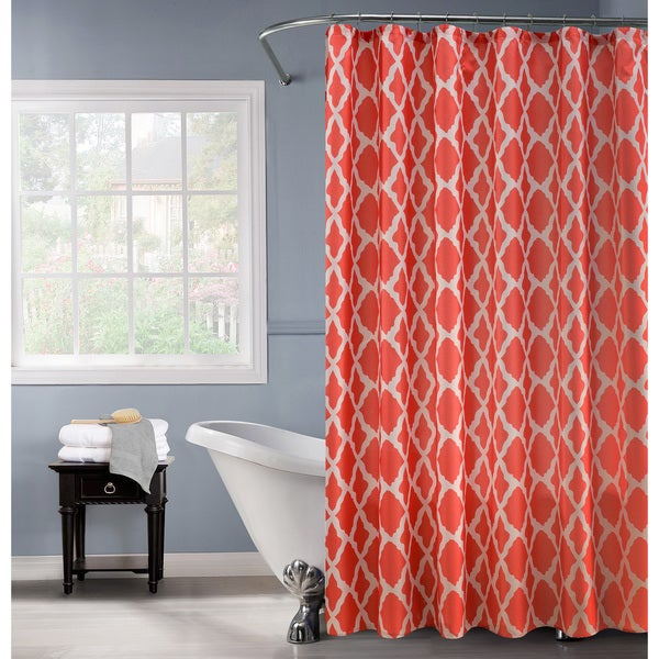 Lurex Orange-and-white Polyester Shower Curtain