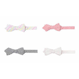 Men's Blue, White, Tan or Red Seersucker Striped Diamond Bow Tie