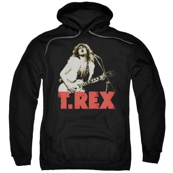 T Rex/Rock On Adult Pull-Over Hoodie in Black
