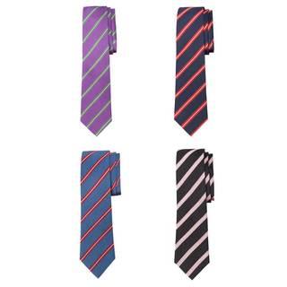 Men's Blue, Black or Purple Woven Silk Repp Stripe Tie