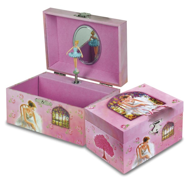 Versil Pink Ballerina Square Musical Jewelry Box
