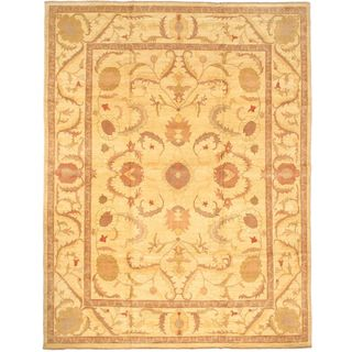 eCarpetGallery Yellow Wool Hand-knotted Chobi Rug (12'3 x 15'10)