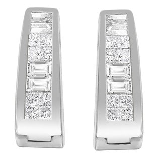 14k White Gold 1/2ct TDW Princess and Baguette-cut Diamond Long Hoop Earrings (H-I,SI1-SI2)