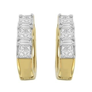 14k Yellow Gold 1/2ct TDW Princess and Baguette-cut Diamond Earrings (H-I,SI1-SI2)