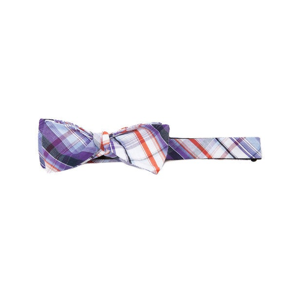 Trendster Plaid Blue Cotton Bow Tie