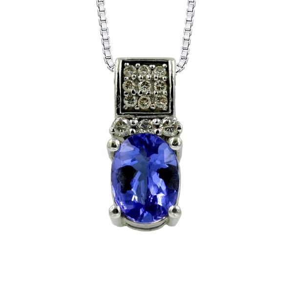14K White Gold 1 1/2ct Tanzanite and 1/5ct TDW Diamond Fashion Pendant (G-H, I1)