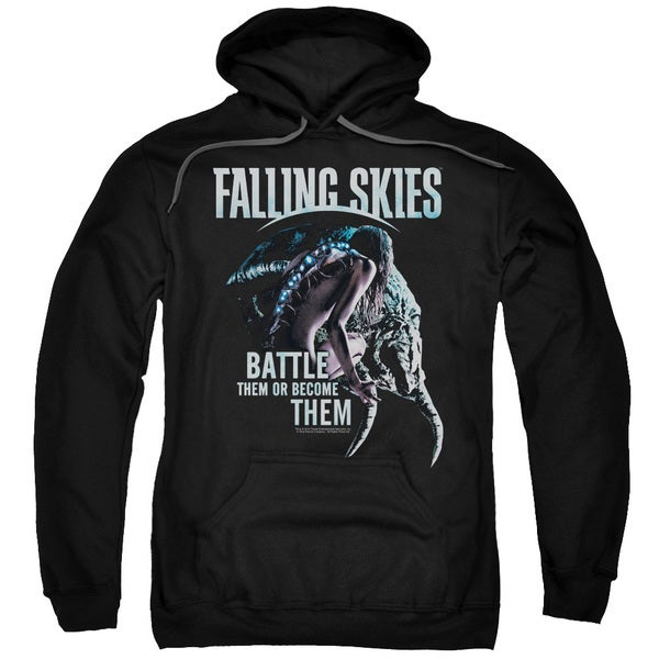 Falling Skies/Battle or Become Adult Pull-Over Hoodie in Black
