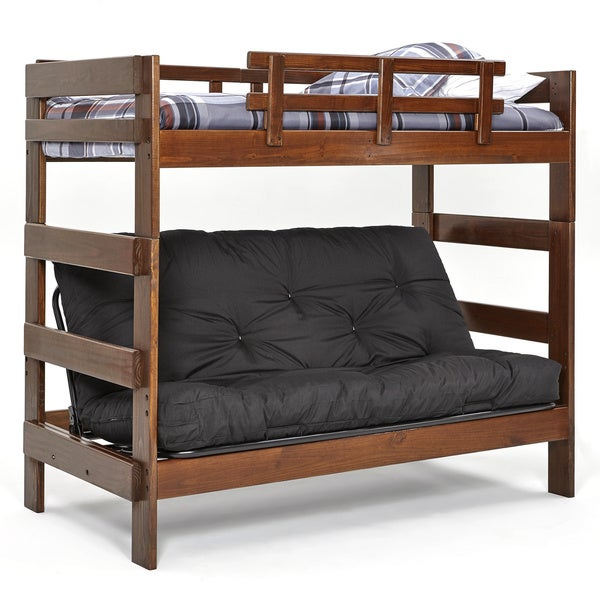 Woodcrest Heartland Brown Pine Futon Bunk Bed