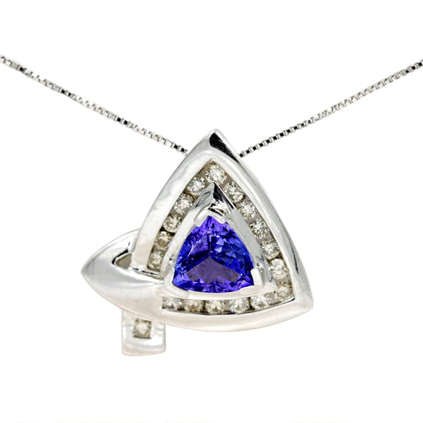 14K White Gold 1 1/5ct Tanzanite and 3/8ct TDW Diamond Fashion Pendant (G-H, I1)