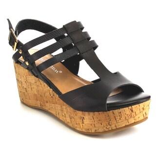 Beston EB24 Cork Wedge Sandals
