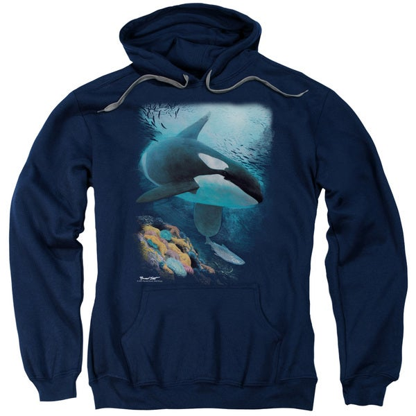 Wildlife/Salmon Hunter Orca Adult Pull-Over Hoodie in Navy