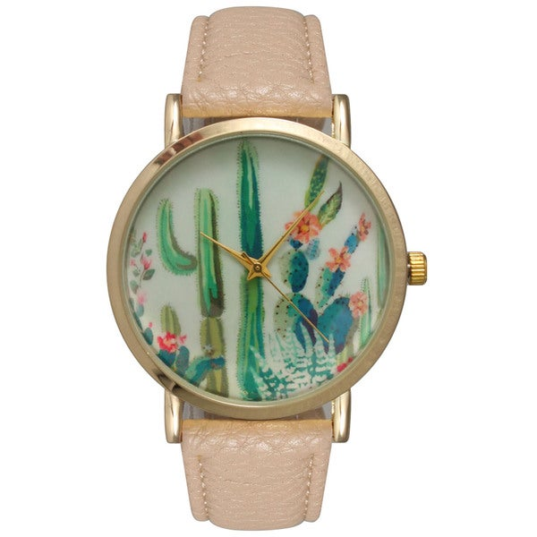 Olivia Pratt Women's Desert Flora Tan Leather Watch
