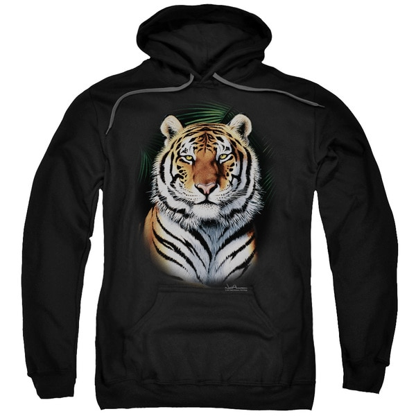 Wildlife/Jungle Fire Adult Pull-Over Hoodie in Black