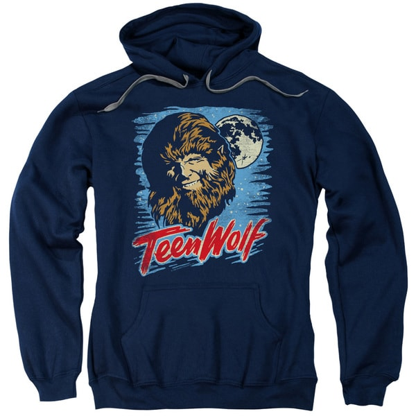 Teen Wolf/Moon Wolf Adult Pull-Over Hoodie in Navy
