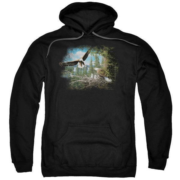 Wildlife/Spring Bald Eagles Adult Pull-Over Hoodie in Black