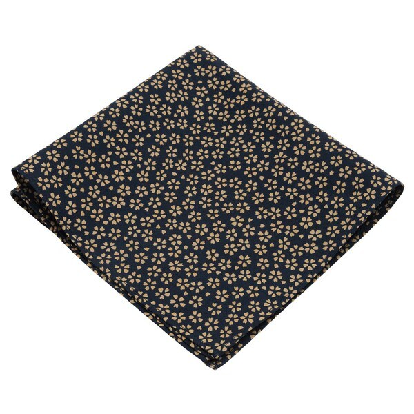 Navy, Maroon or Mustard 13 x 13 Timid Flower Print Pocket Square