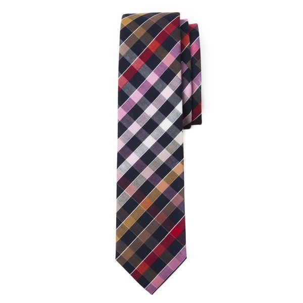 Men's Black Cotton Checked Plaid Tie