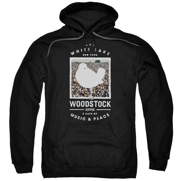 Woodstock/Birds Eye View Adult Pull-Over Hoodie in Black