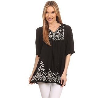 High Secret Women's Asymmetrical Neck Embroidered Assorted Color Cotton Short-sleeve Blouse