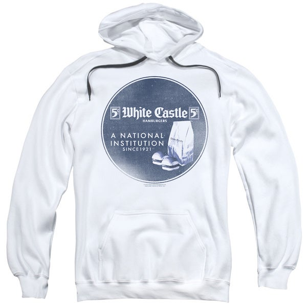 White Castle/National Institution Adult Pull-Over Hoodie in White