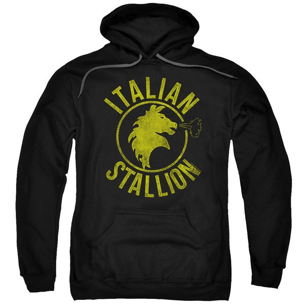 Rocky/Italian Stallion Horse Adult Pull-Over Hoodie in Black
