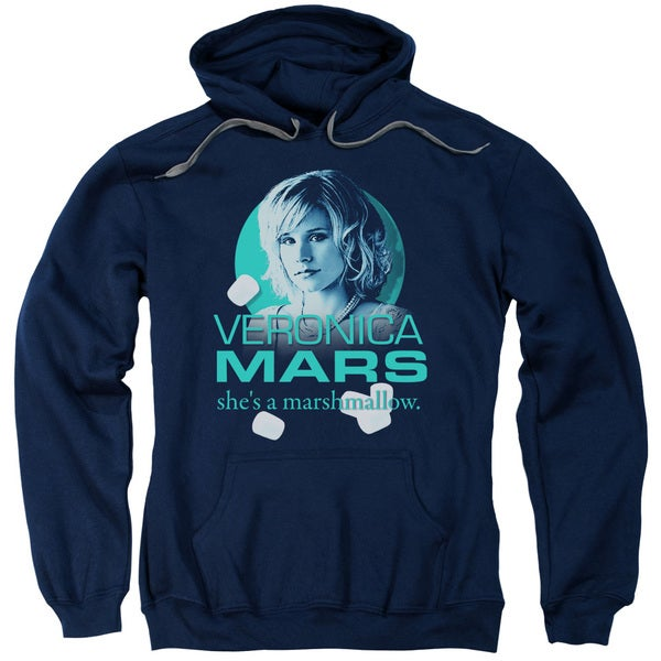 Veronica Mars/Marshmallow Logo Adult Pull-Over Hoodie in Navy